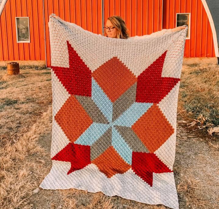 Crochet Barn Quilt Blanket – Free C2C Pattern