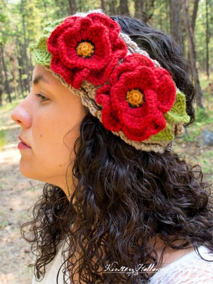 Crochet Basket full of Poppies Headband