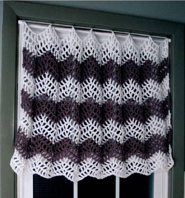Crochet Big Bold Chevron Curtain