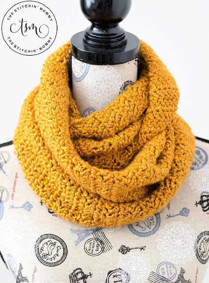 Crochet Butterscotch Infinity Scarf