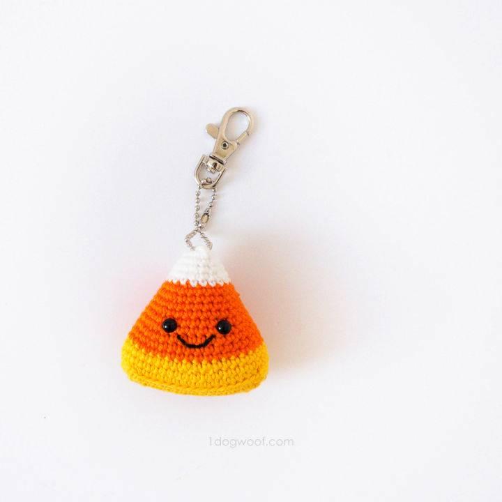Crochet Candy Corn Amigurumi Keychain