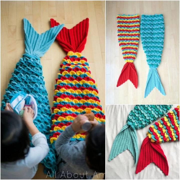 Crochet Crocodile Stitch Mermaid Tail Blanket