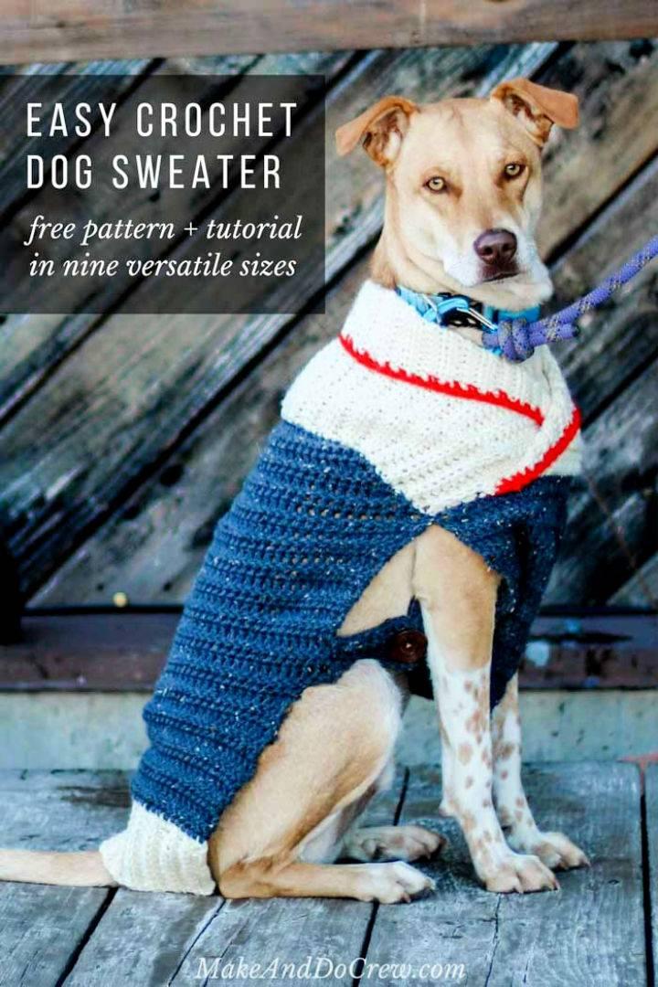 Crochet Dog Sweater Pattern In Nine Sizes