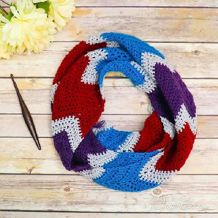Crochet Facets Infinity Scarf Free Pattern