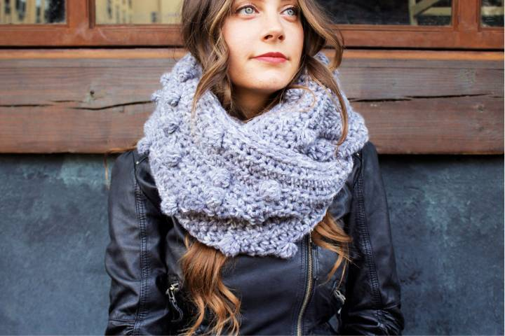 Crochet Frozen Lake Infinity Scarf