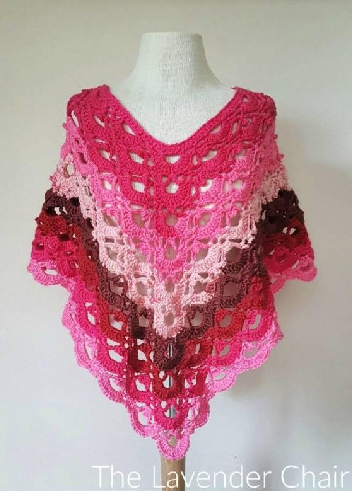 Crochet Gemstone Lace Poncho