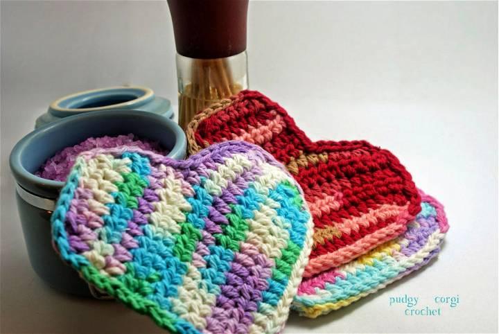 Crochet Heart Scrubbie