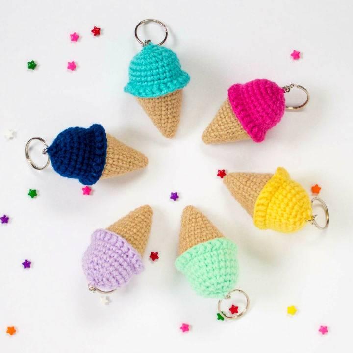 Crochet Ice Cream Cone Keychain