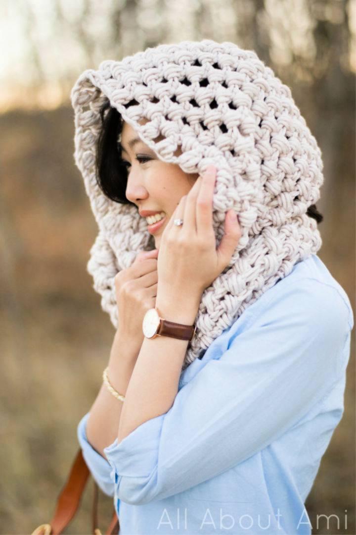 Crochet Jumbo Puff Stitch Cowl