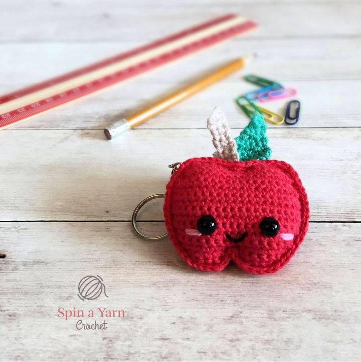 Crochet Kawaii Apple Keychain