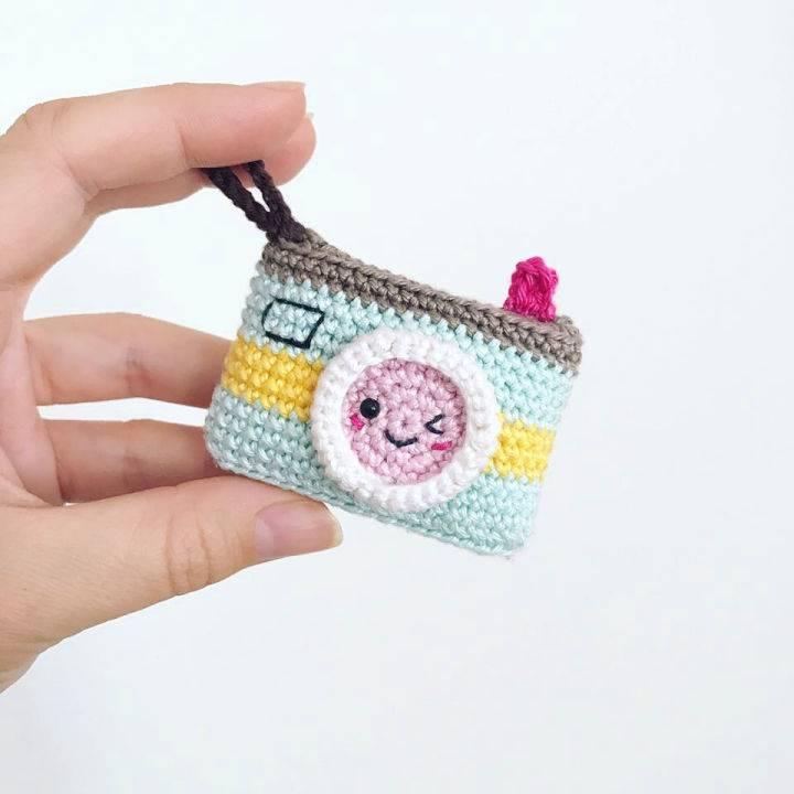 Crochet Kawaii Camera Keychain