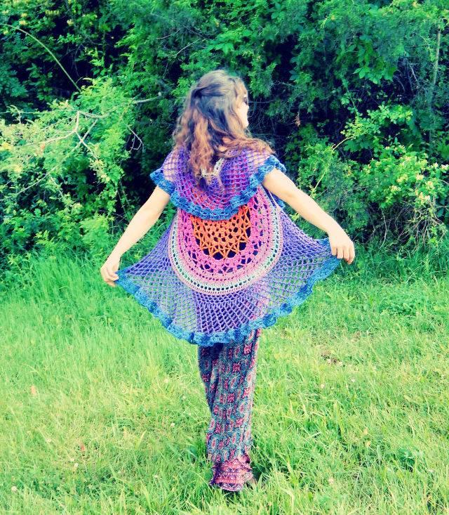 Crochet Lotus Mandala Circular Vest