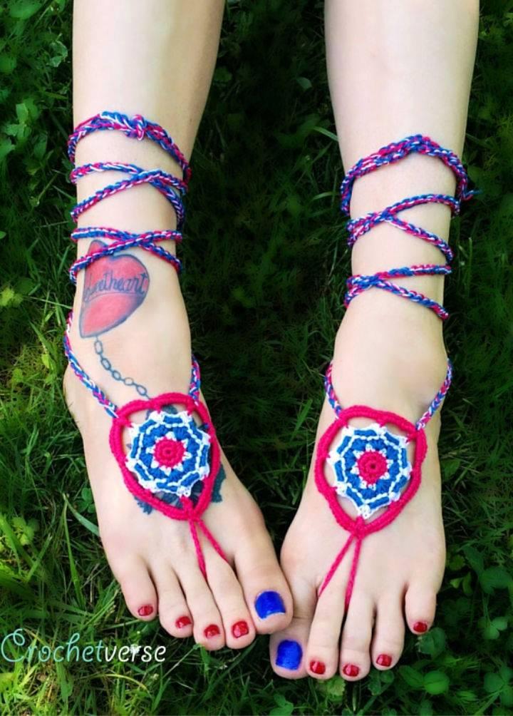 Crochet Mandala Barefoot Sandals