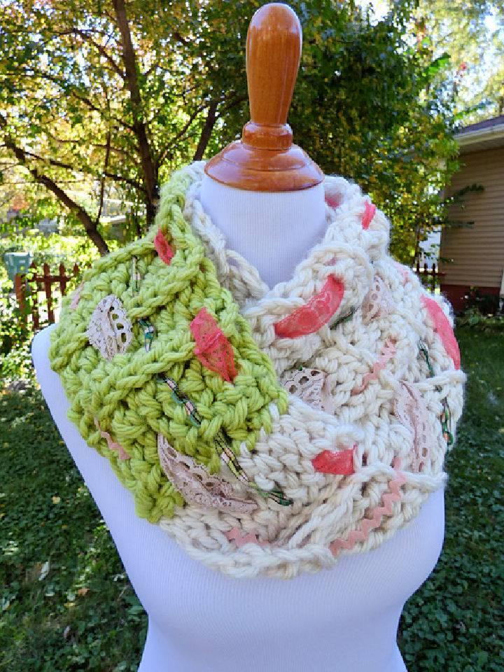 Crochet Multi Media Infinity Scarf