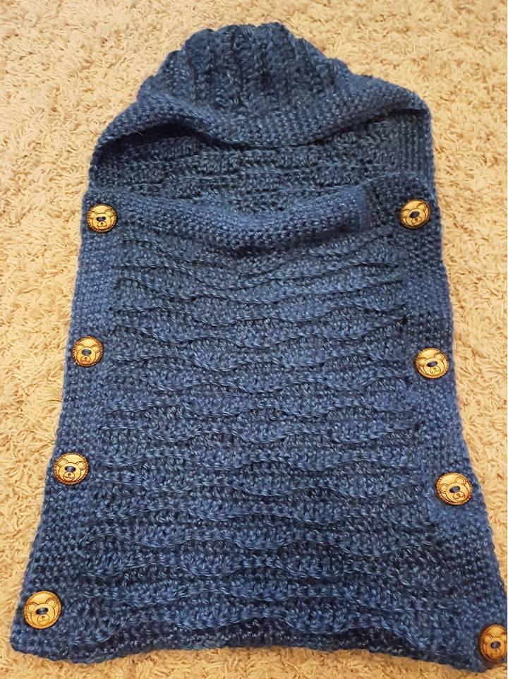 Crochet Ocean Baby Cocoon Hooded