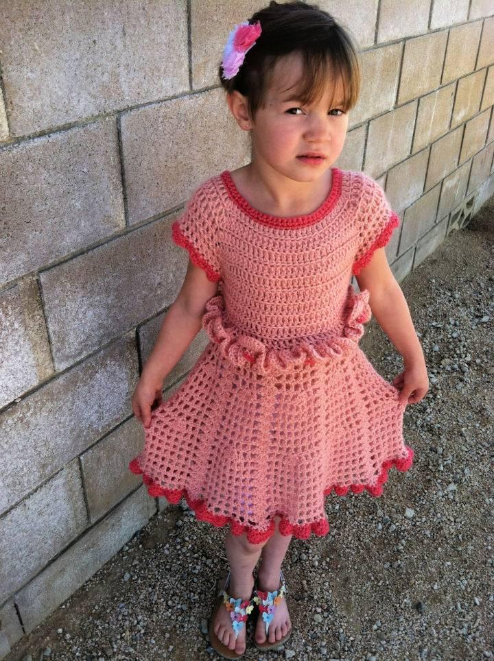 Crochet Petal Ruffle Dress