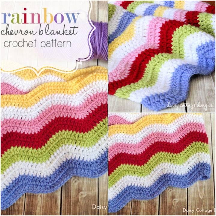 Crochet Rainbow Chevron Blanket Pattern