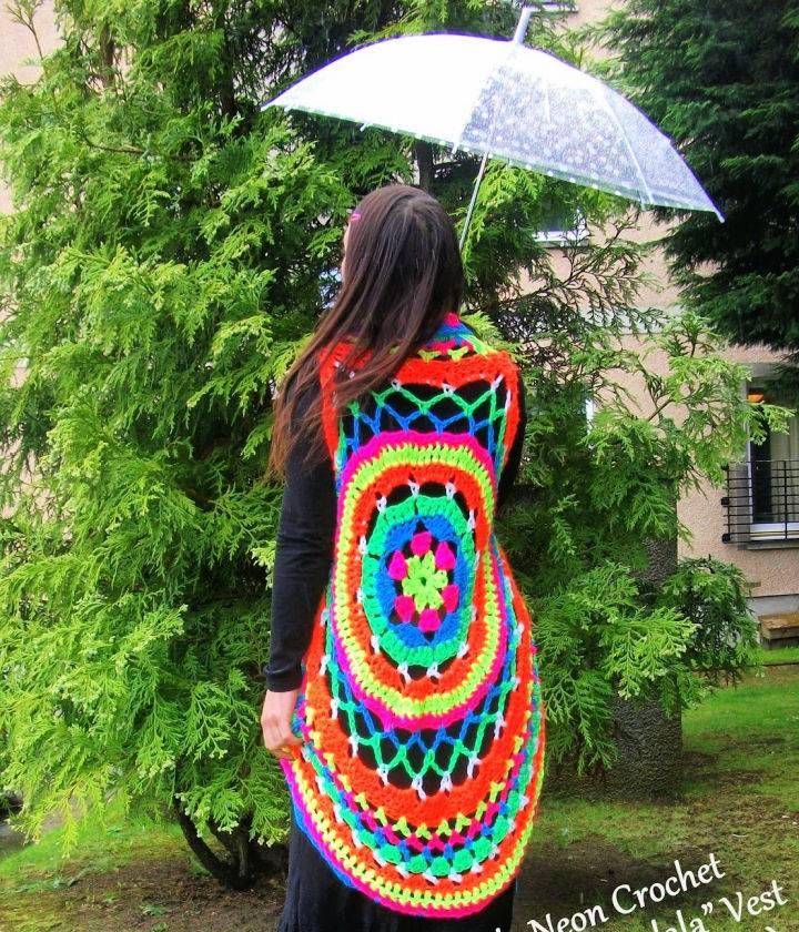Crochet Rainbow Vermicelli Mandala Vest