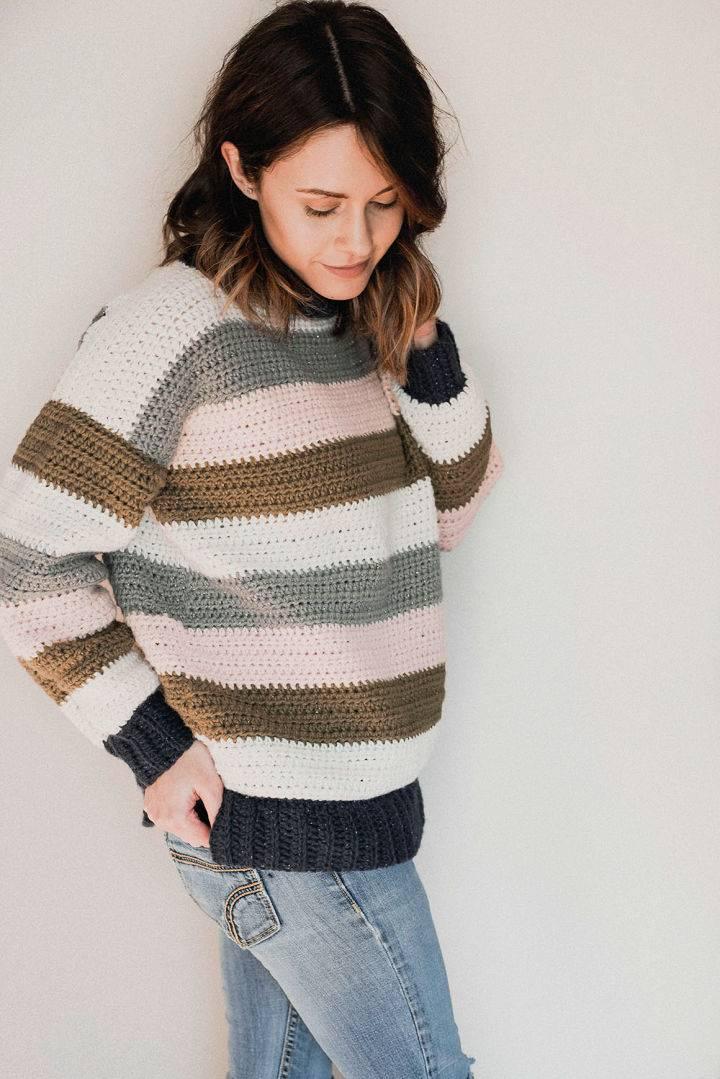 Crochet Retro Stripes Sweater Pattern