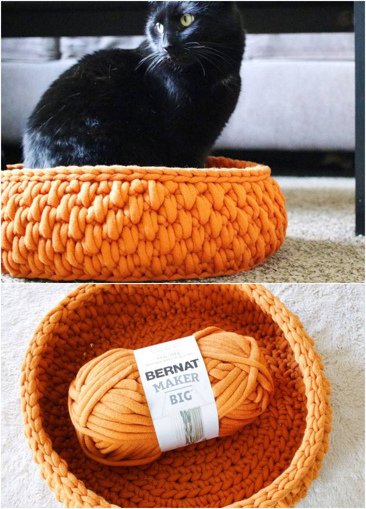 Crochet Round Cat Bed with Jumbo Yarn