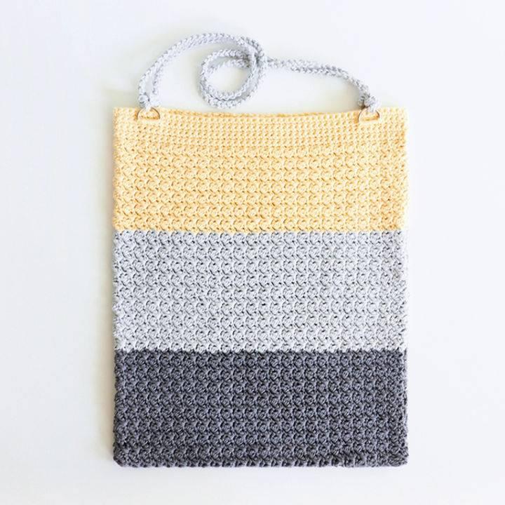 Crochet Single Stitch Color Block Bag Pattern