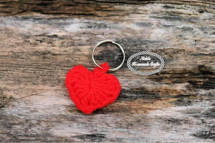 Crochet Small Heart Keychain