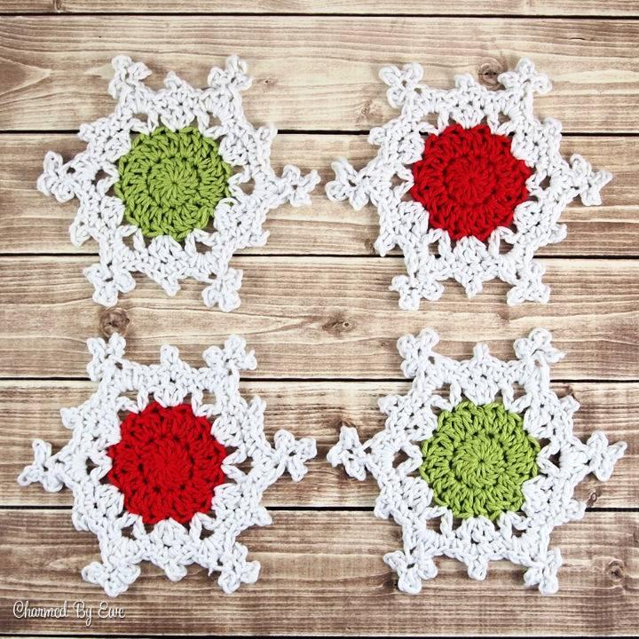 Crochet Snowflake Coasters Pattern