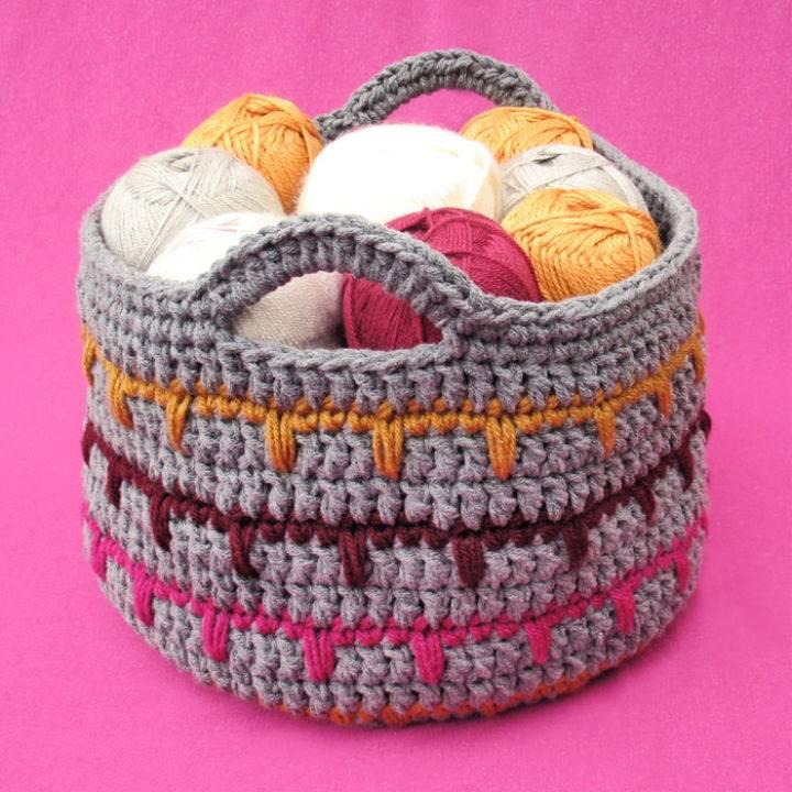Crochet Spikes Yarn Basket Pattern