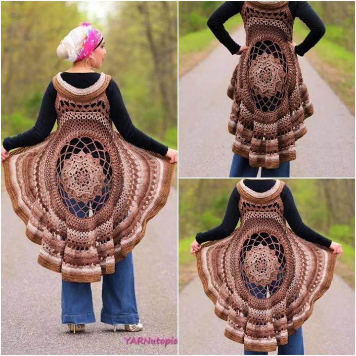 Crochet Spring Sun Mandala Vest