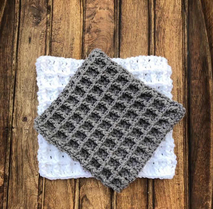 Crochet Waffle Stitch Washcloth
