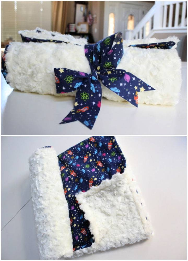 DIY 15 Minute Baby Minky Blanket