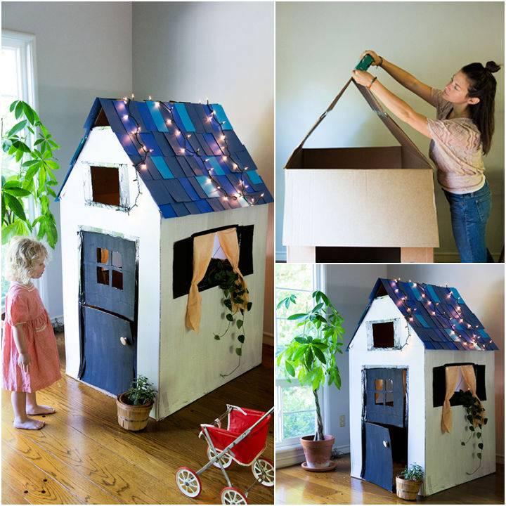 DIY Cardboard Playhouse From A Box