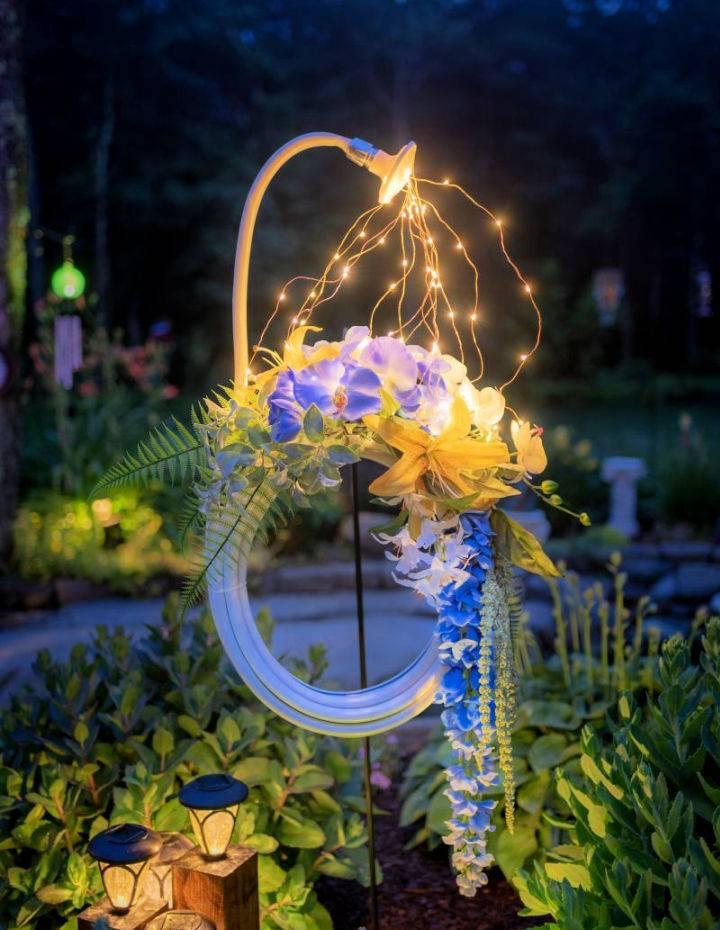 DIY Lighted Garden Hose Wreath