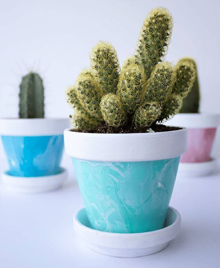 DIY Mini Marbled Painted Pots