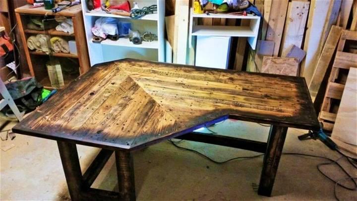DIY Pallet Wood Corner Desk 1