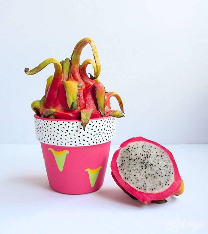 Dragon Fruit Painted Terra Cotta Pot