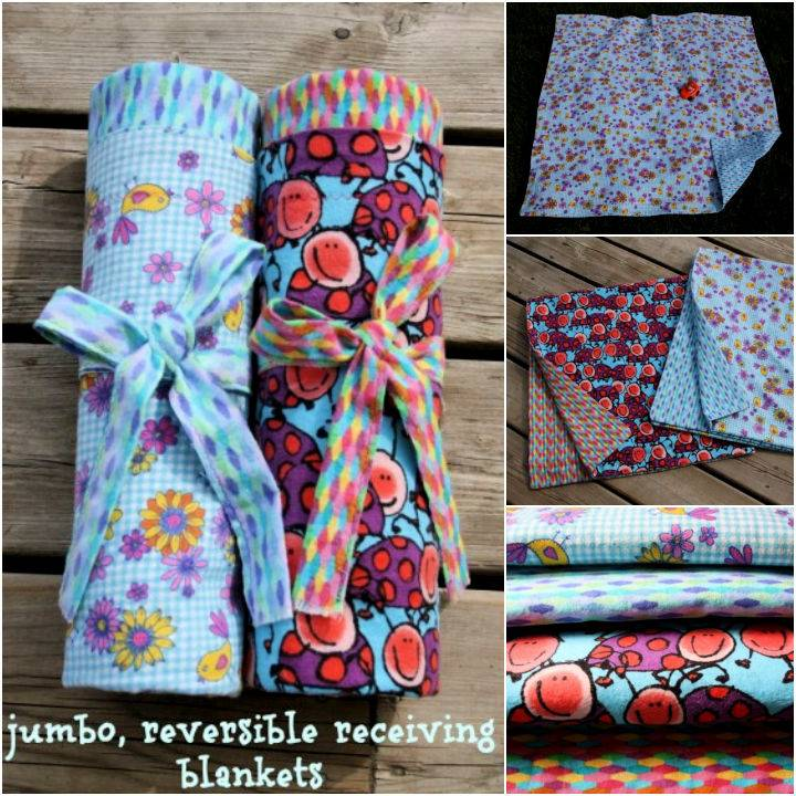 Extra Large Reversible Flannel Receiving Blankets for Baby