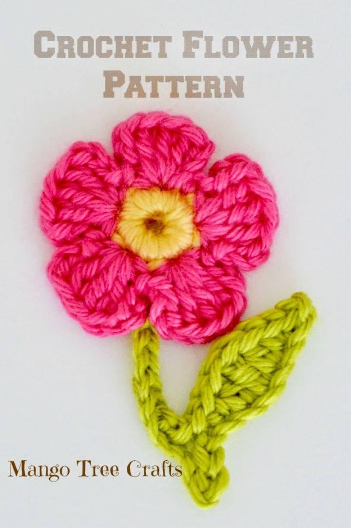 Free Crochet Flower Applique Pattern