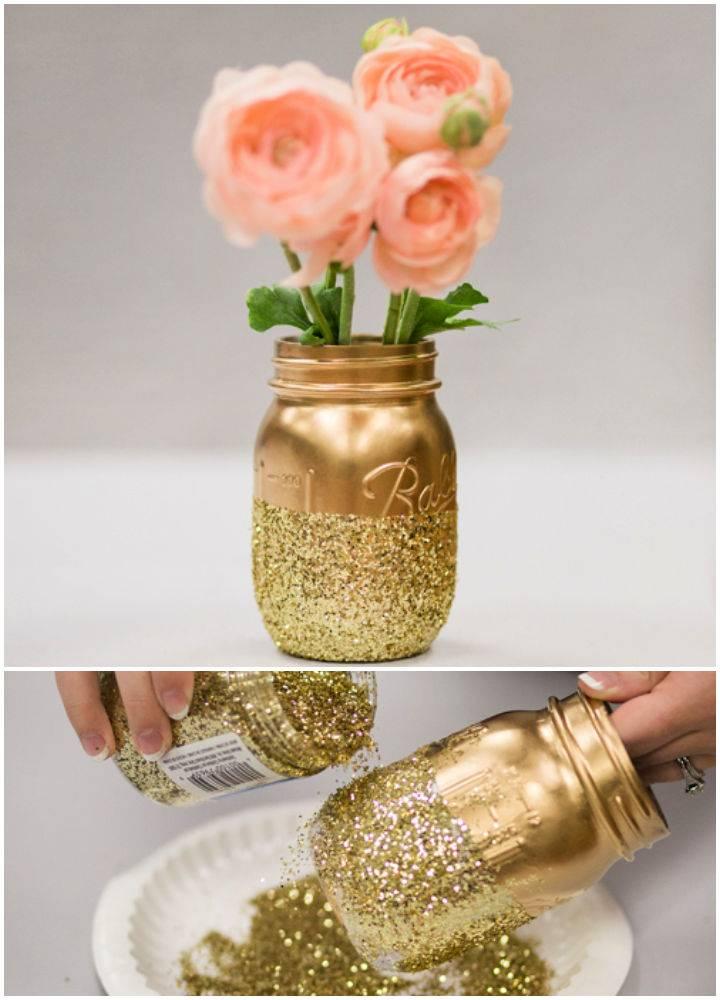 Glitter Mason Jar Centerpiece For Wedding