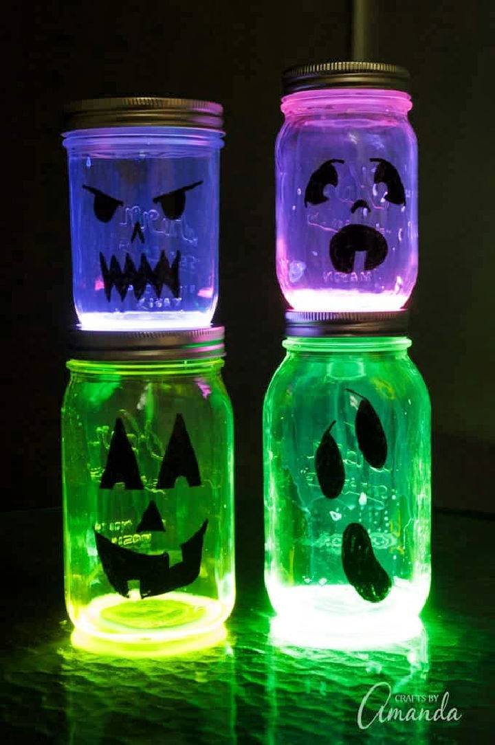 Glowing Jack O Lantern Mason Jars