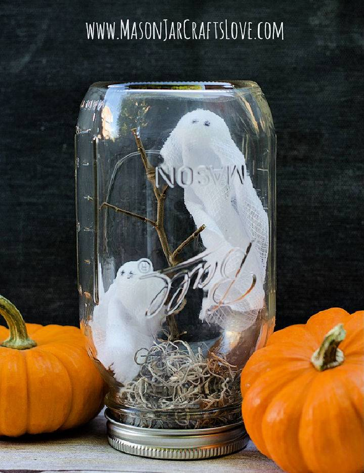 Handmade Ghosts In Mason Jar