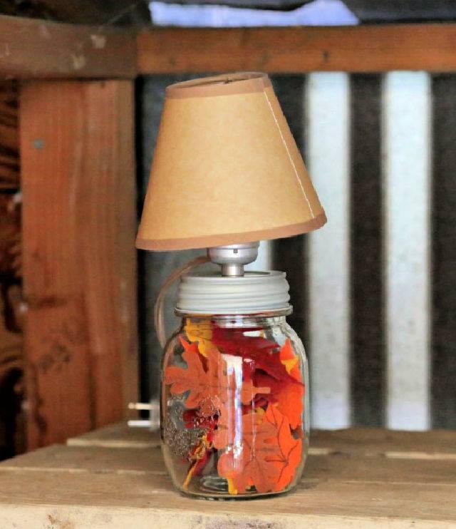 How to Make a Fall Mason Jar Lamp