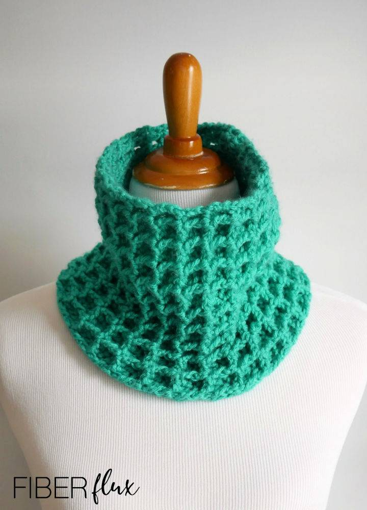 Jade Waffle Cowl Crochet Pattern
