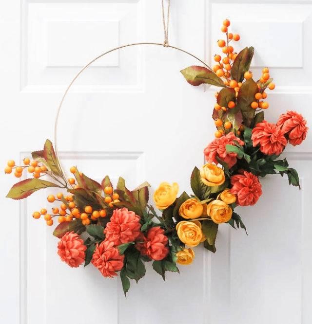Make A Fall Hoop Wreath