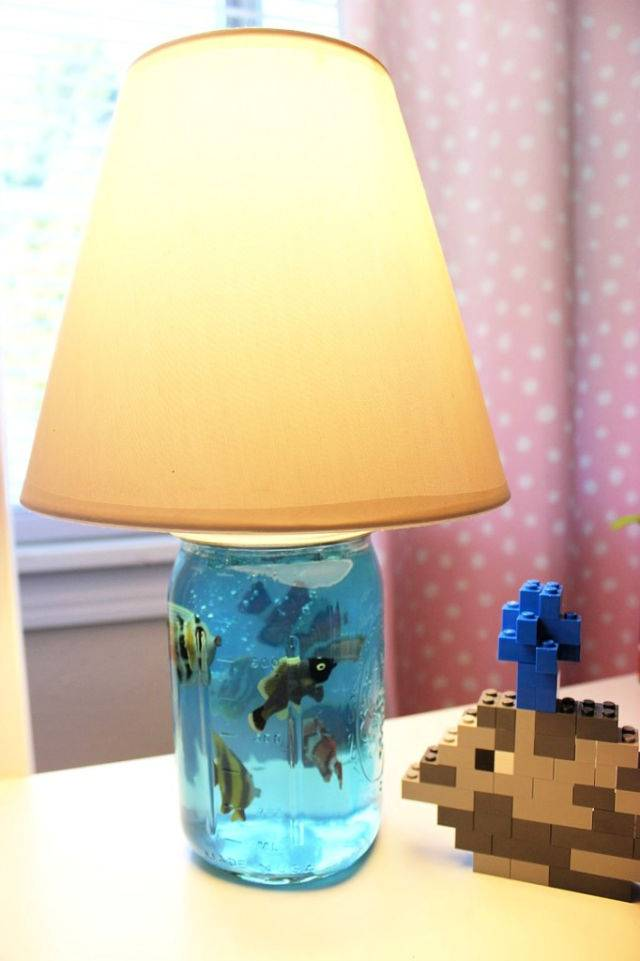 Mason Jar Aquarium Lamp For Kids