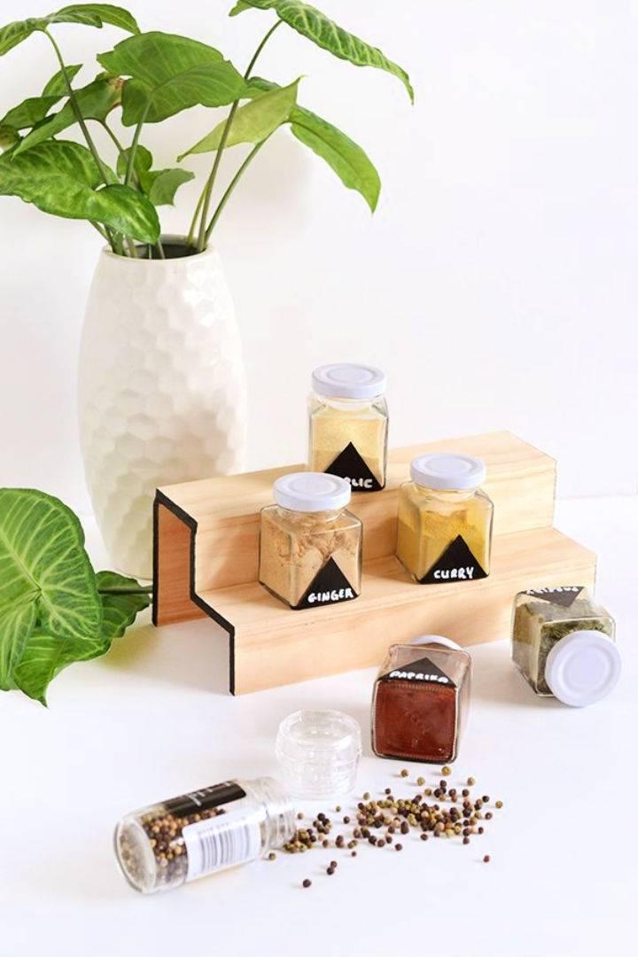 Minimal Wood Spice Rack