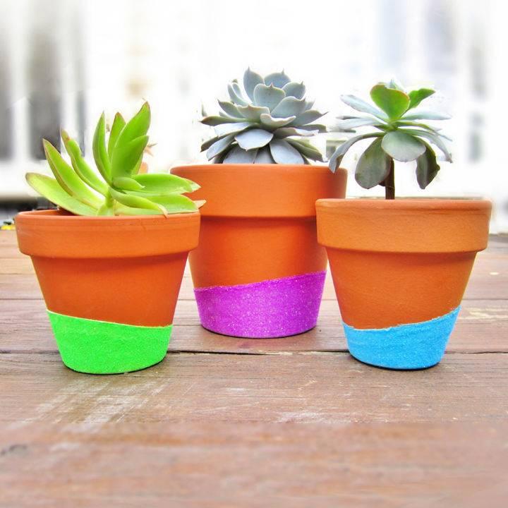 Neon Glitter Dipped Flower Pots