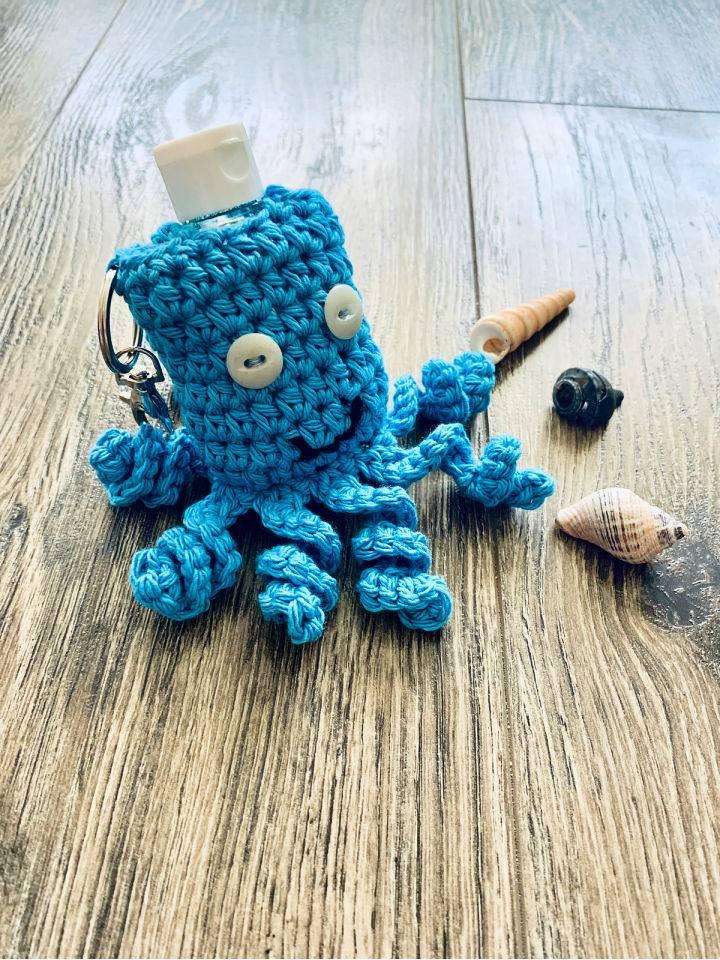 Octopus Hand Sanitizer Crochet Keychain