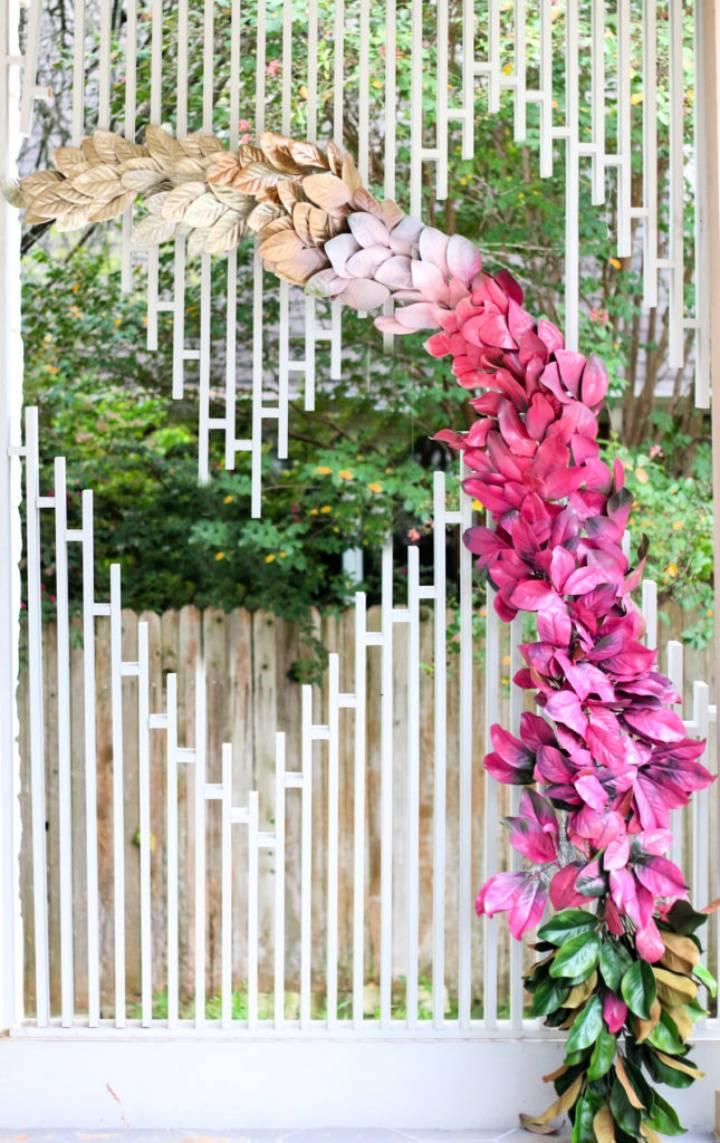 Ombre Magnolia Leaf Wedding Backdrop