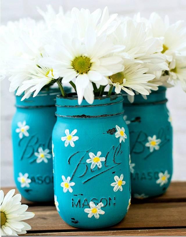 Painted Daisy Mason Jars